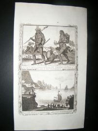Millar 1782 Folio Antique Print. Tapoyers of Brazil and Harbour of St. Vincent